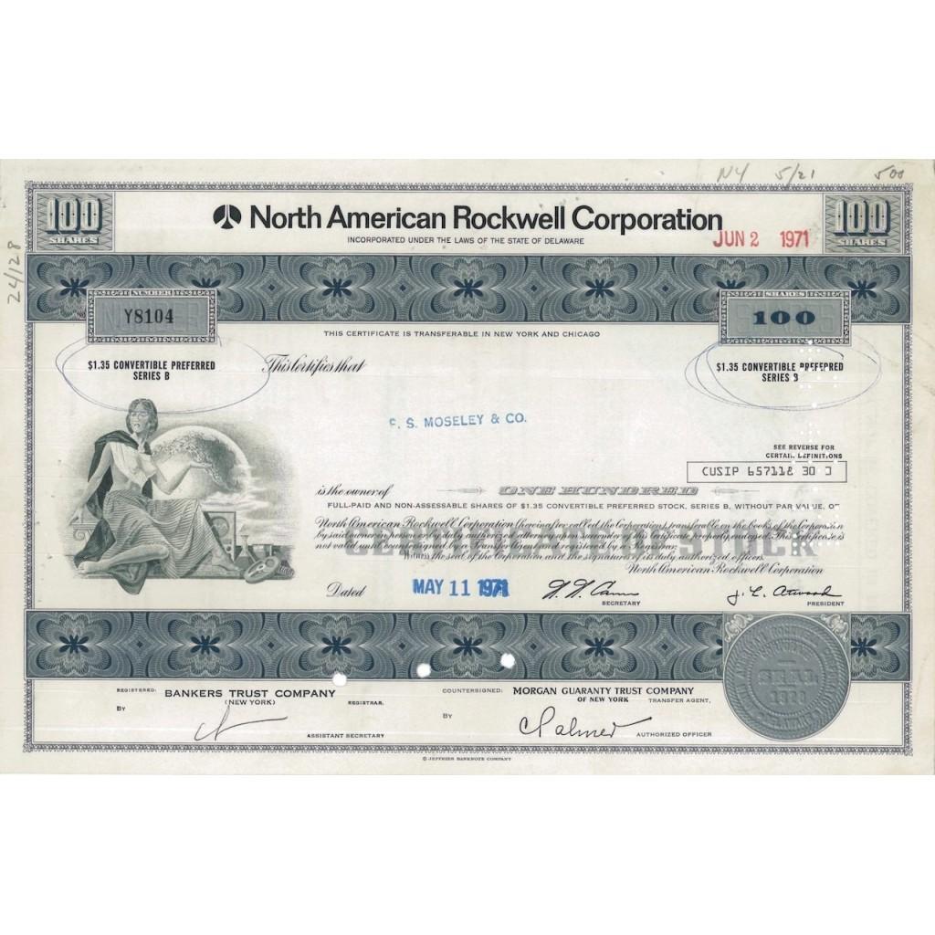 NORTH AMERICAN ROCKWELL CORPORATION - 100 AZIONI 1971