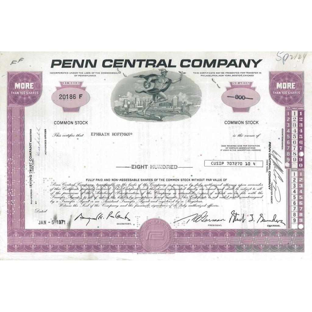 PENN CENTRAL COMPANY - 800 AZIONI - 1971