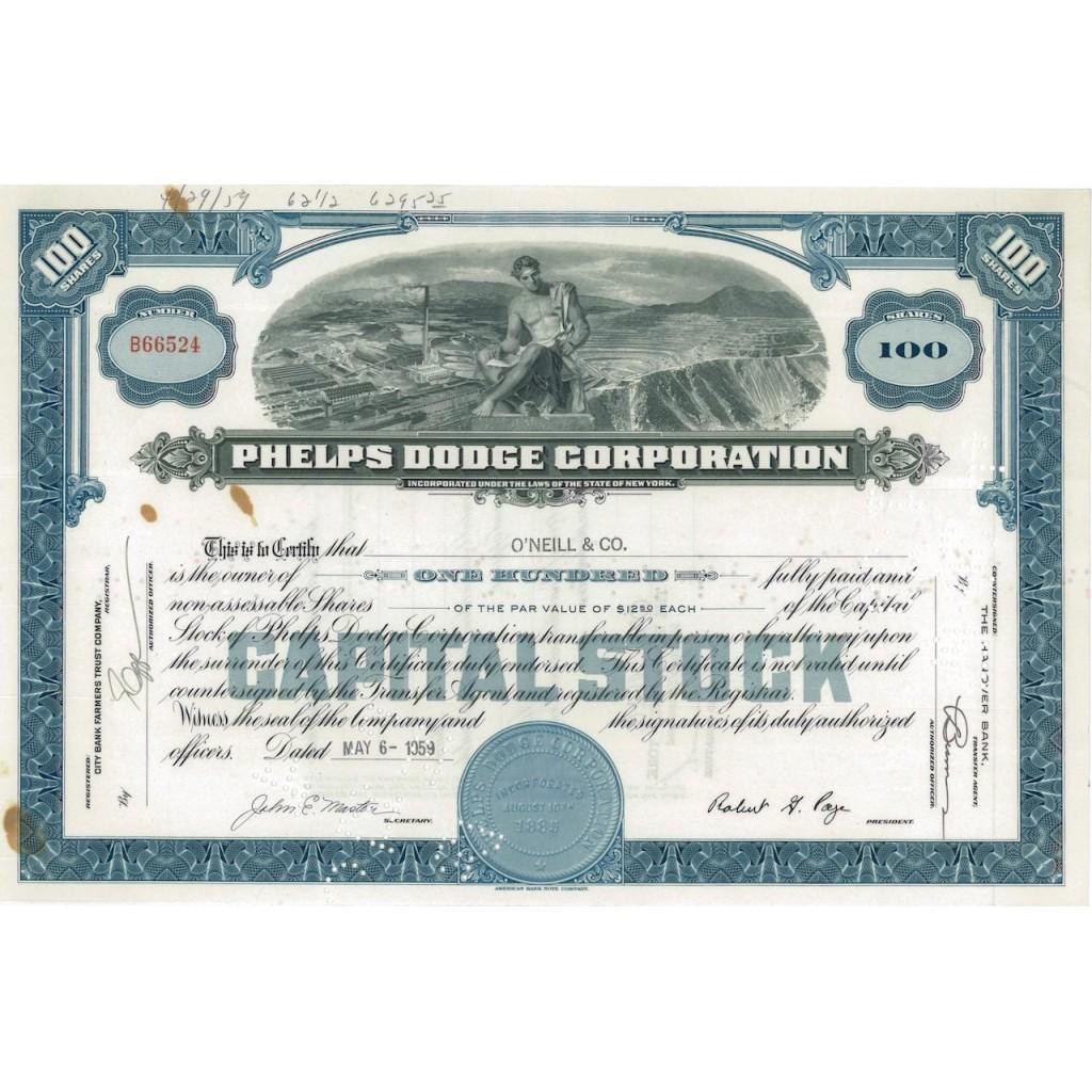 PHELPS DODGE CORPORATION - 100 AZIONI - 1959