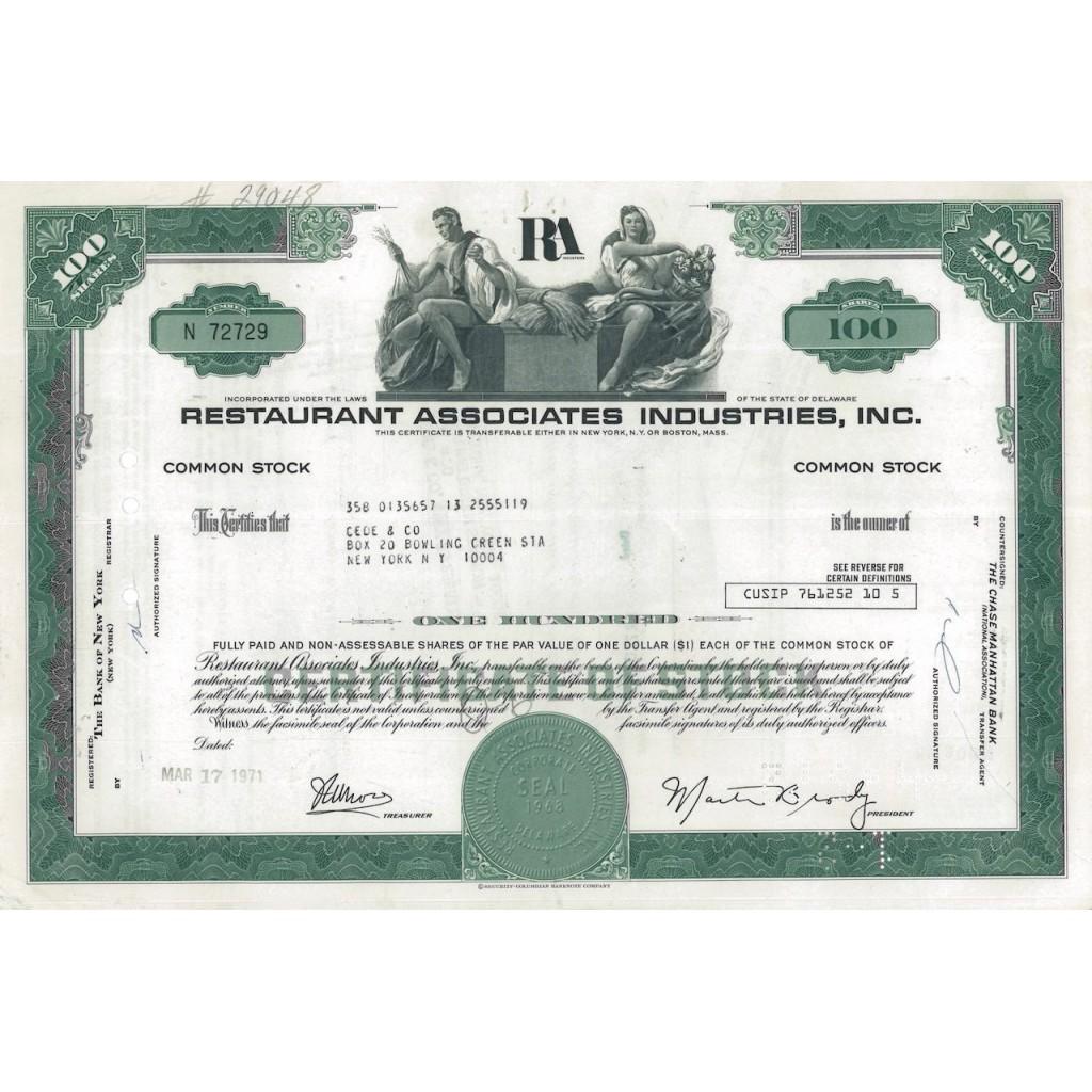 RESTAURANT ASSOCIATES INDUSTRIES, INC. 100 AZIONI - 1971