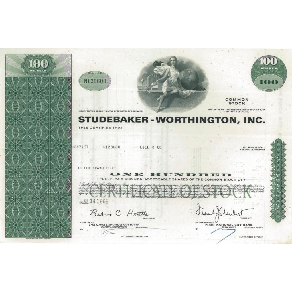 STUDEBAKER-WORTHINGTON, INC.- 100 AZIONI - 1969