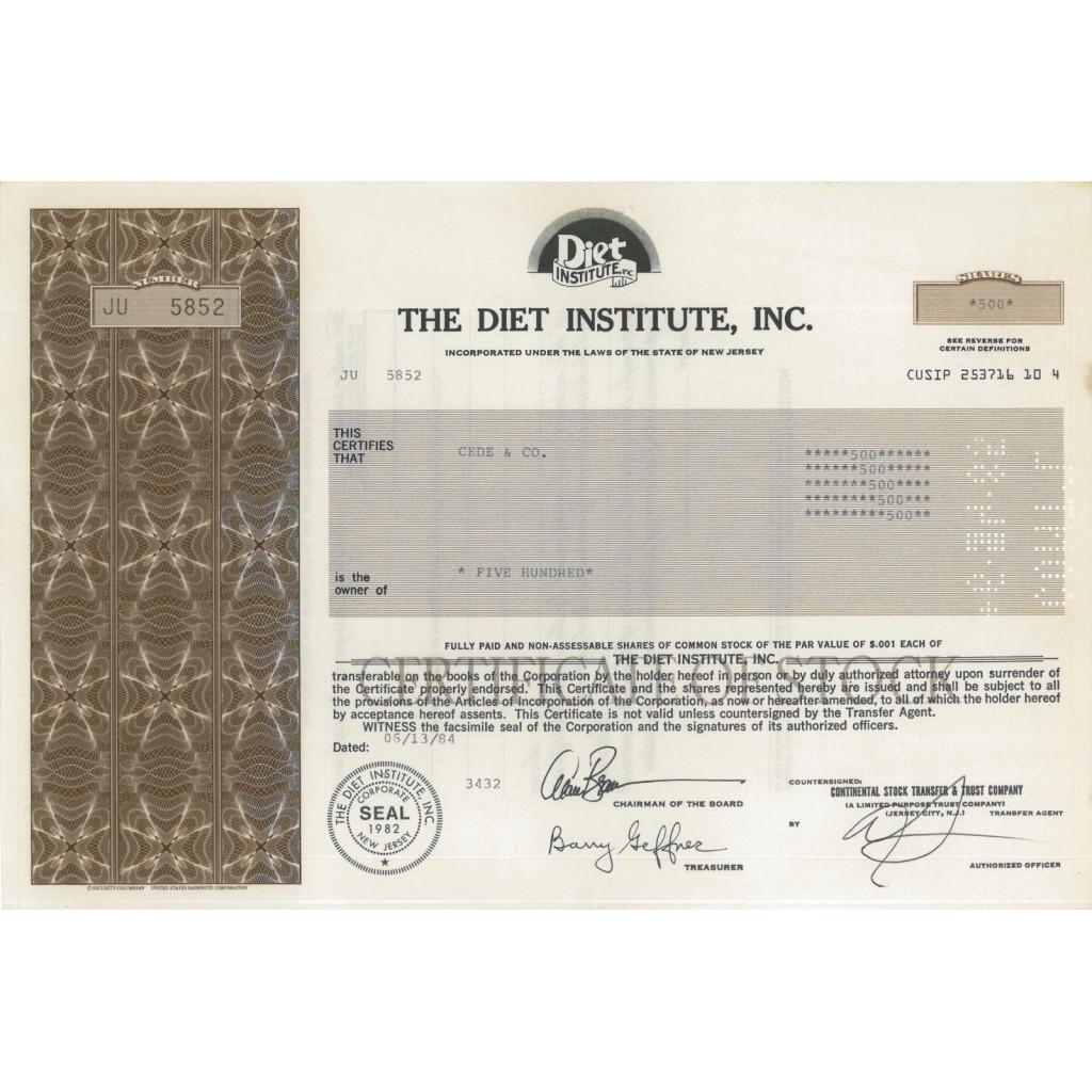 THE DIET INSTITUTE, INC. - 500 AZIONI - 1984