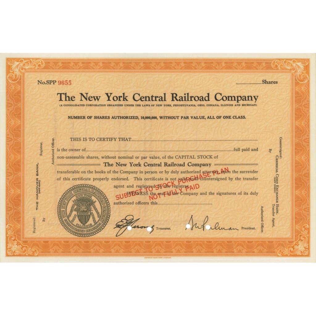 THE NEW YORK CENTRAL RAILROAD COMPANY - AZIONI