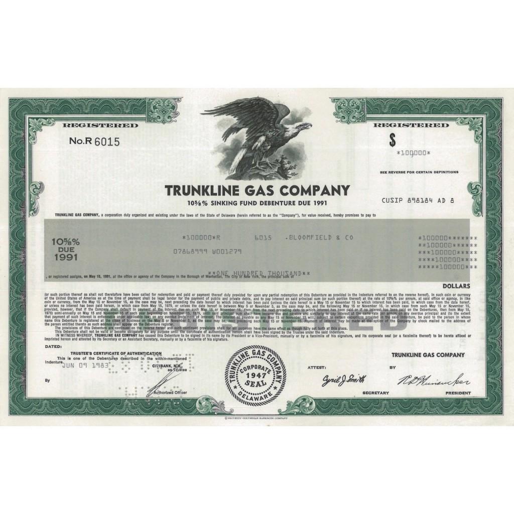 TRUNKLINE GAS COMPANY - 100000 DOLLARI - 1983