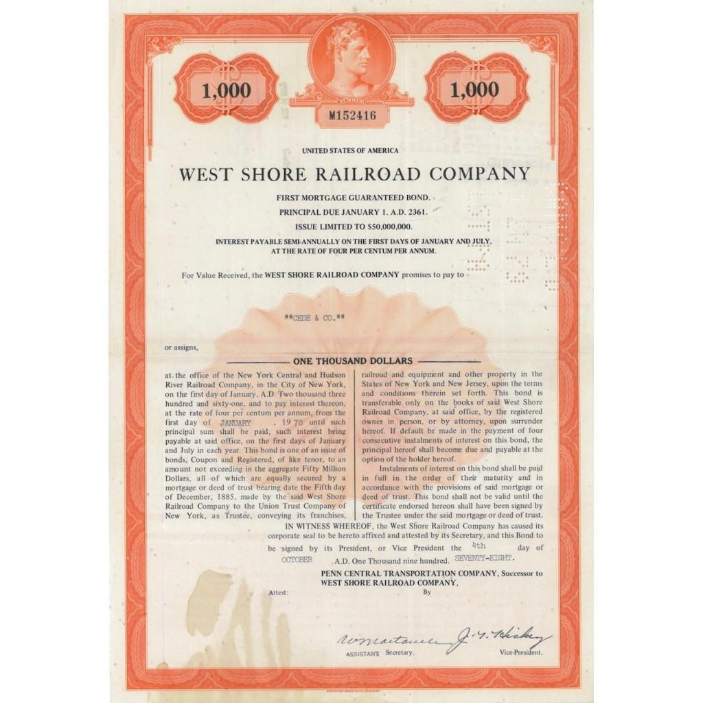 WEST SHORE RAILROAD COMPANY - 1000 DOLLARI 1978