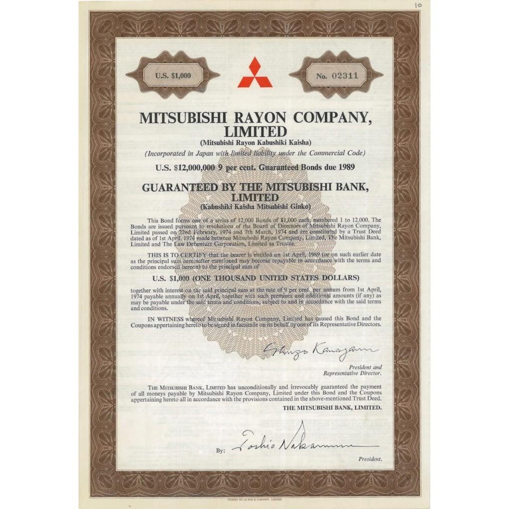 MITSUBISHI RAYON COMPANY, LIMITED - 1000 DOLLARI - 1989