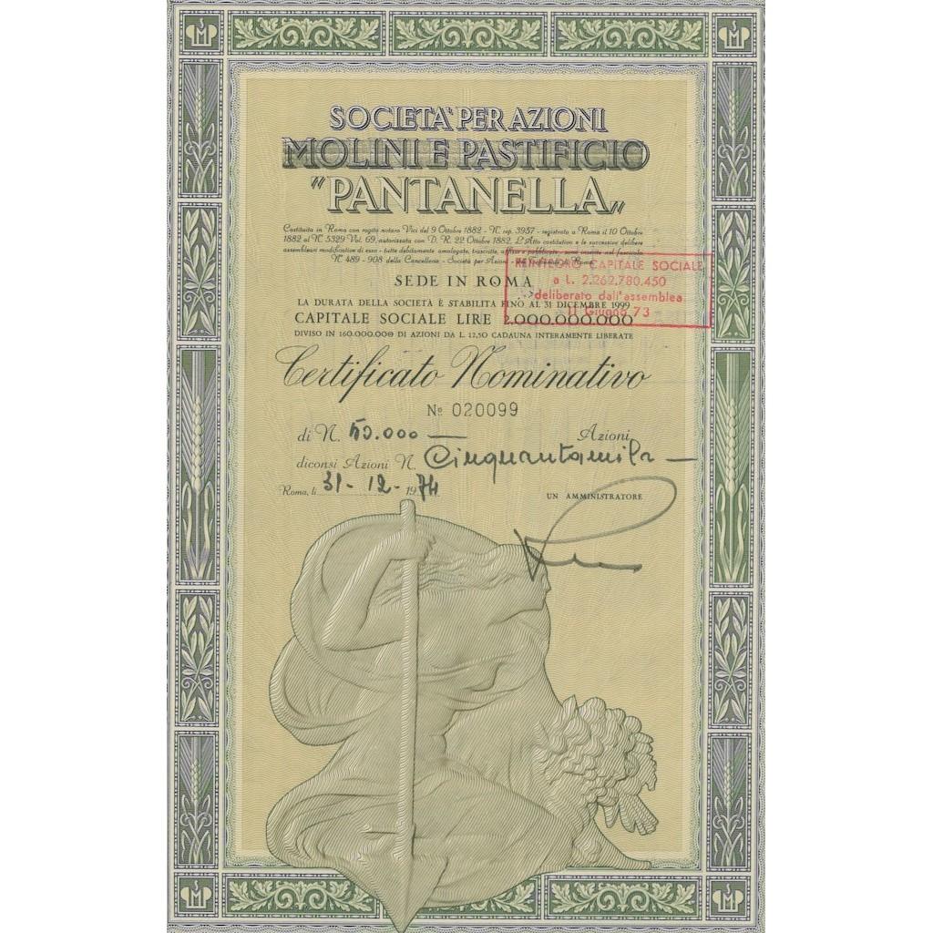SOC. PER AZIONI PANTANELLA 50000 AZIONI - ROMA 1974