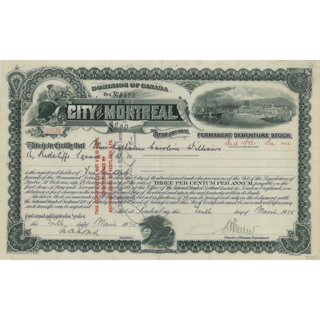 CITY OF MONTREAL - 200 DOLLARI INTERESSE 3 PER CENTO - 1935