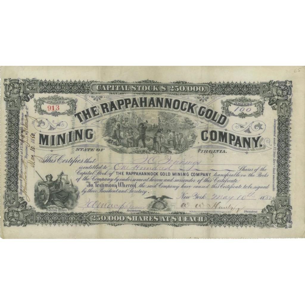 THE RAPPAHANNOCK GOLD MINING COMPANY - 100 AZIONI - 1880