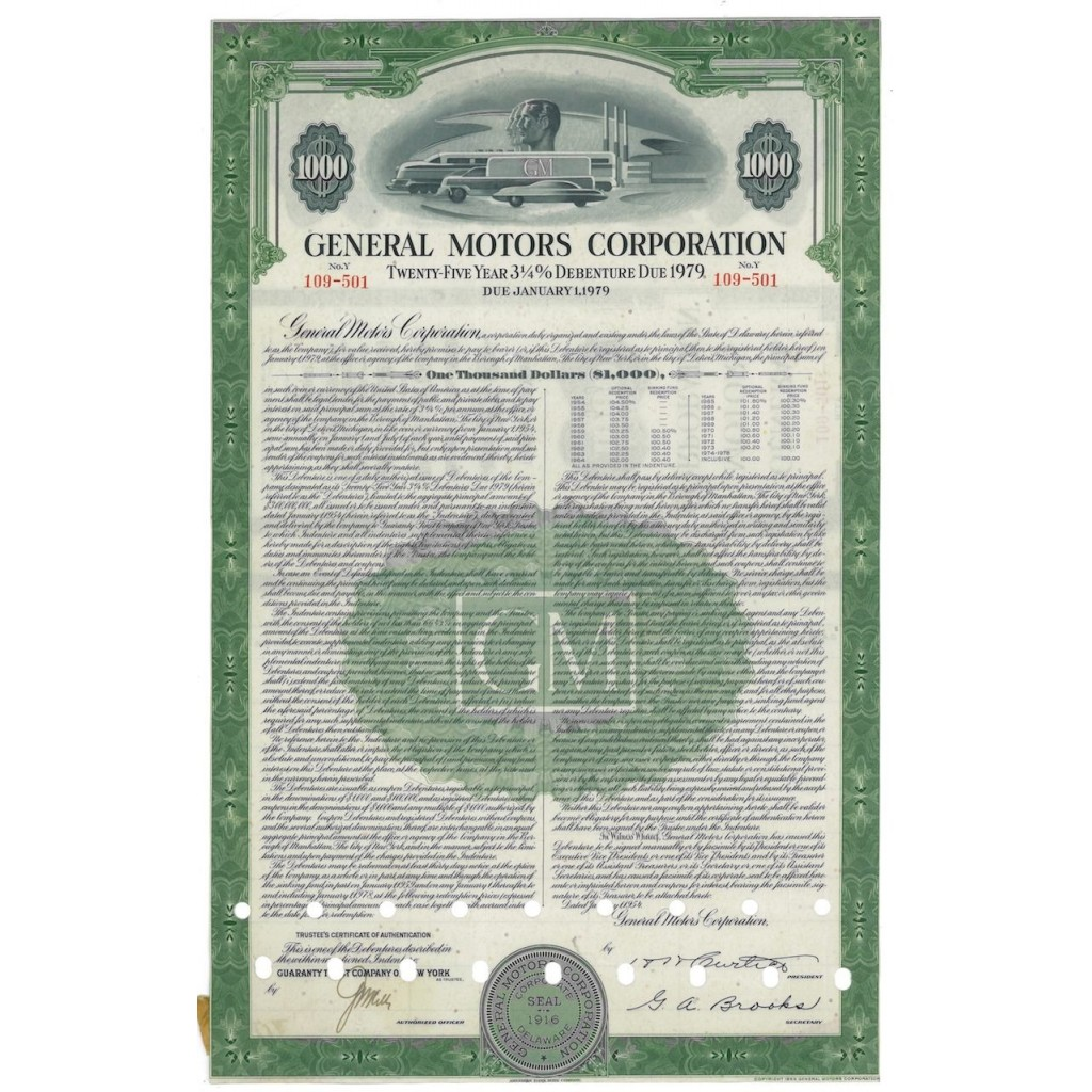 GENERAL MOTORS CORPORATION - 1000 AZIONI - 1916