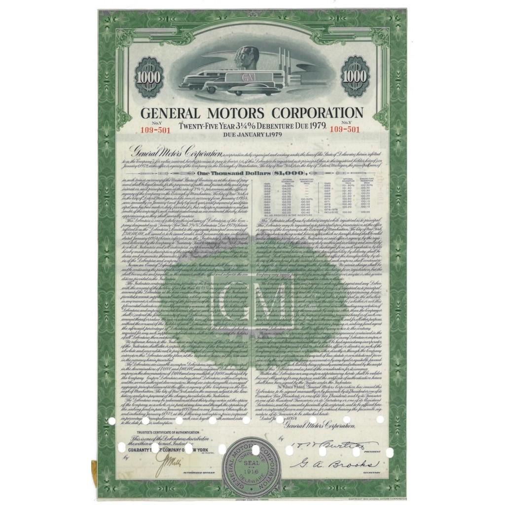 GENERAL MOTORS CORPORATION - 1000 AZIONI - 1916