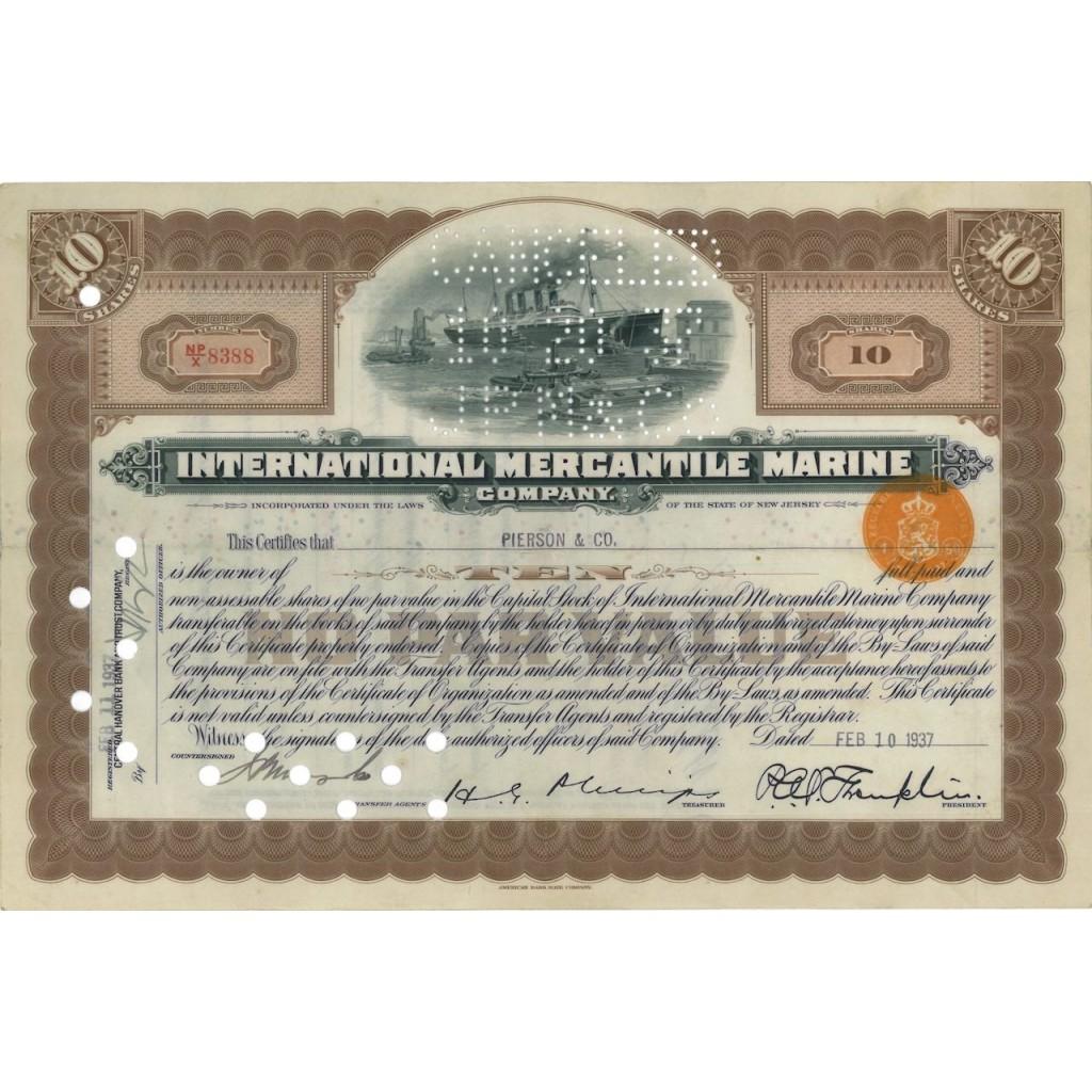INTERNATIONAL MERCANTILE MARINE (TITANIC) - 10 AZIONI - 1937