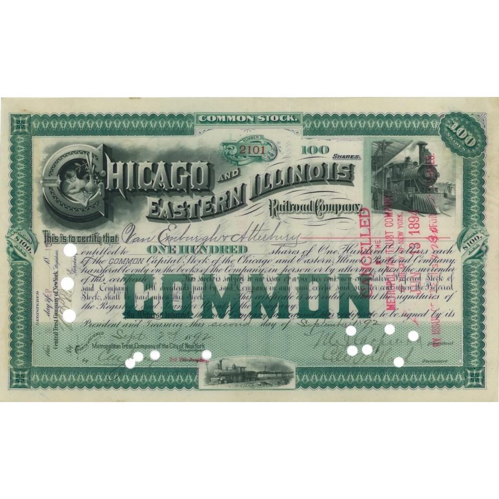 CHICAGO AND EASTERN ILLINOIS RAILROAD COMPANY - 100 AZIONI 1892