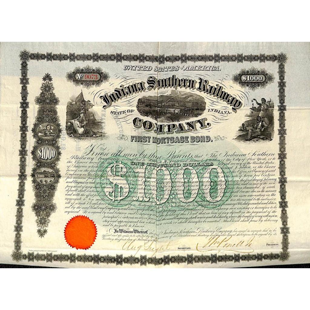 INDIANA SOUTHERN RAILWAY COMPANY - 1000 DOLLARI 1866