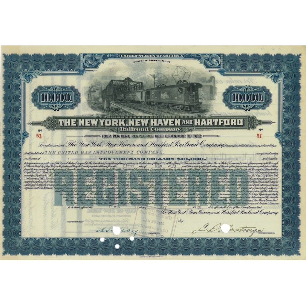 THE NEW YORK, NEW HAVEN AND HARTFORD RAILROAD COMP. - 10000 DOLLARI 1920