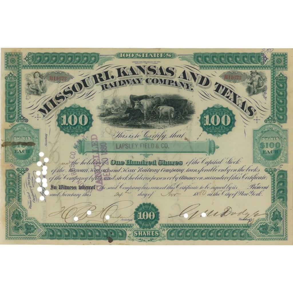 MISSOURI, KANSAS AND TEXAS RAILWAY COMPANY - 100 AZIONI - 1880