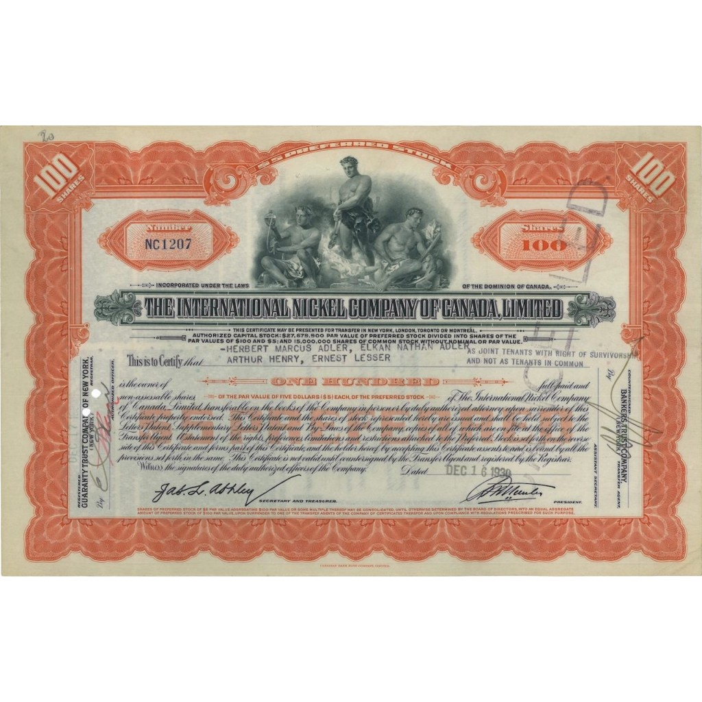 THE INTERNATIONAL NICKEL COMP. OF CANADA LIMITED - 100 AZIONI 1930