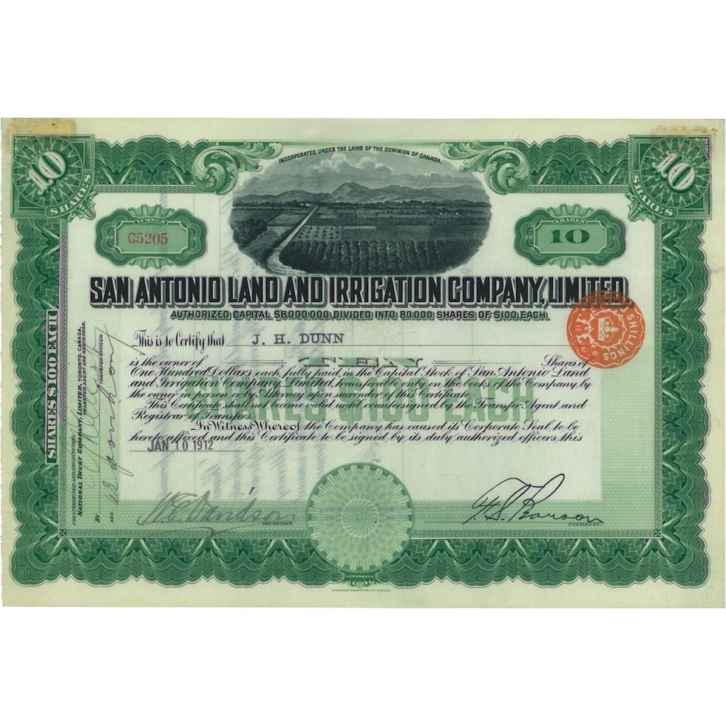 SAN ANTONIO LAND AND IRRIGATION COMP. LIMITED - 10 AZIONI - 1912