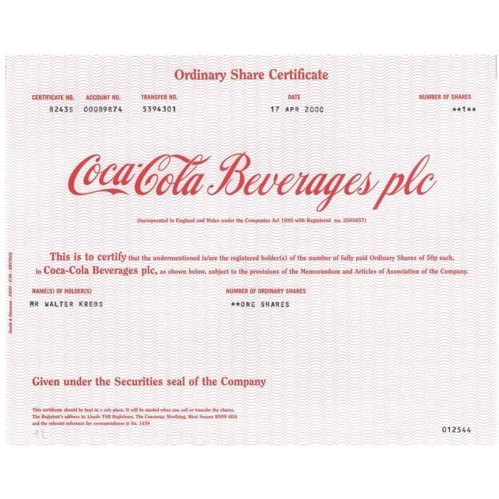 COCA-COLA BEVERAGES PLC - 1 AZIONE - 2000