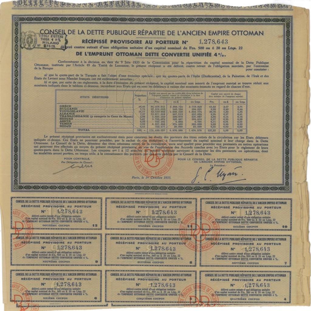 IMPERO OTTOMANO - OBBLIGAZIONE - 1934