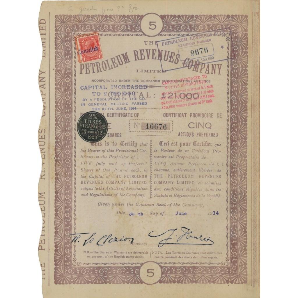 PETROLEUM REVENUES COMPANY - 5 AZIONI - 1914
