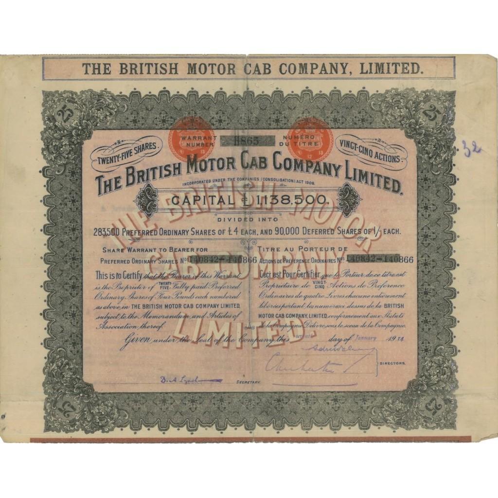 THE BRITISH MOTOR CAB COMPANY LIMITED - 25 AZIONI - 1914