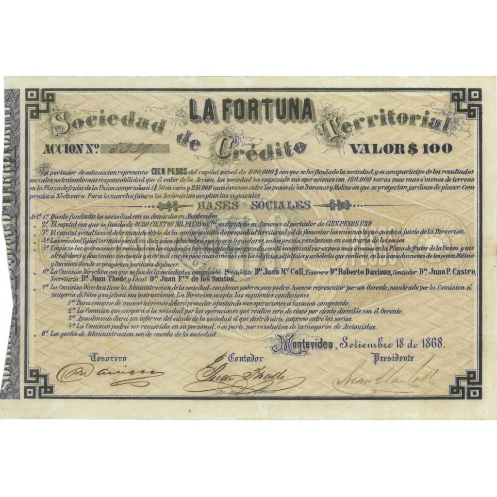 LA FORTUNA SOC. DE CREDITO TERRITORIAL 1 AZIONE DA 100 DOLLARI 1868