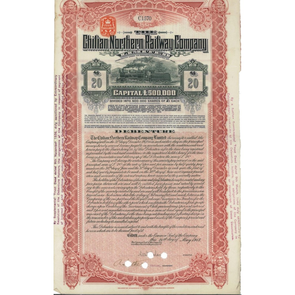 CHILIAN NORTHERN RAILWAY COMPANY - 20 DOLLARI - 1913