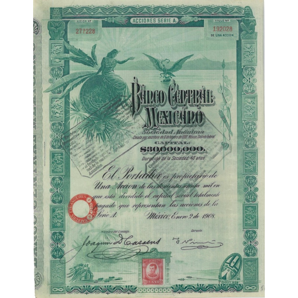 BANCO CENTRAL MEXICANO - 1 AZIONE 1908