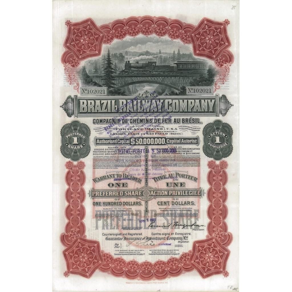 BRAZIL RAILWAY COMPANY - 1 AZIONE 1912