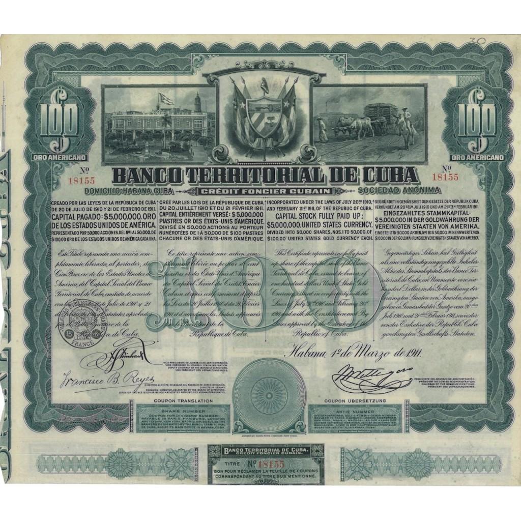 BANCO TERRITORIAL DE CUBA - 100 DOLLARI 1911