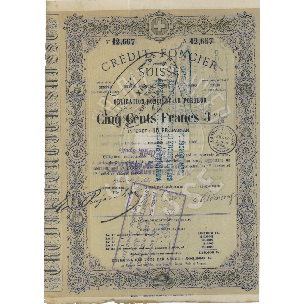 CREDIT FONCIER SUISSE - 1 OBBLIGAZIONE - 1868