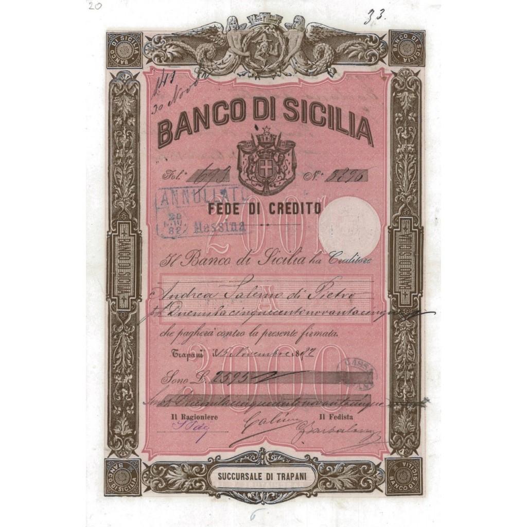 BANCO DI SICILIA - FEDE DI CREDITO 2595 LIRE TRAPANI 1882