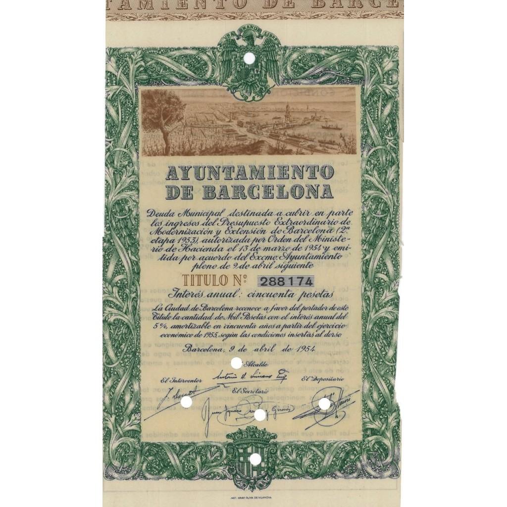 AYUNTAMIENTO DE BARCELONA - 1 OBBLIGAZIONE - 1954