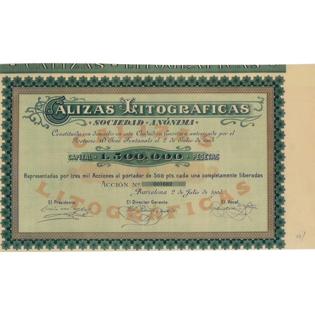 CALIZAS LITOGRAFICAS - 1 AZIONE - 1903