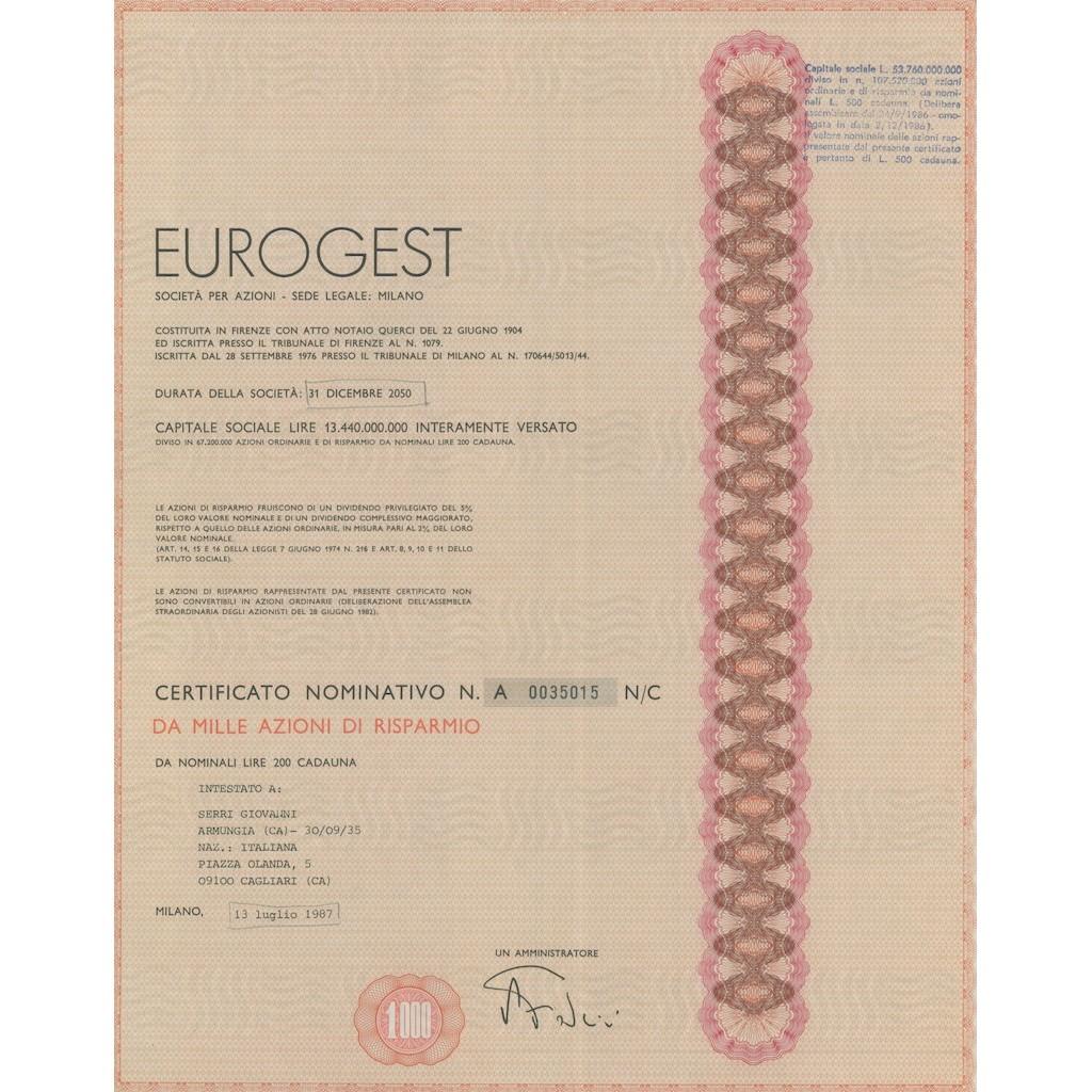 EUROGEST - 1000 AZIONI DI RISPARMIO MILANO 1987