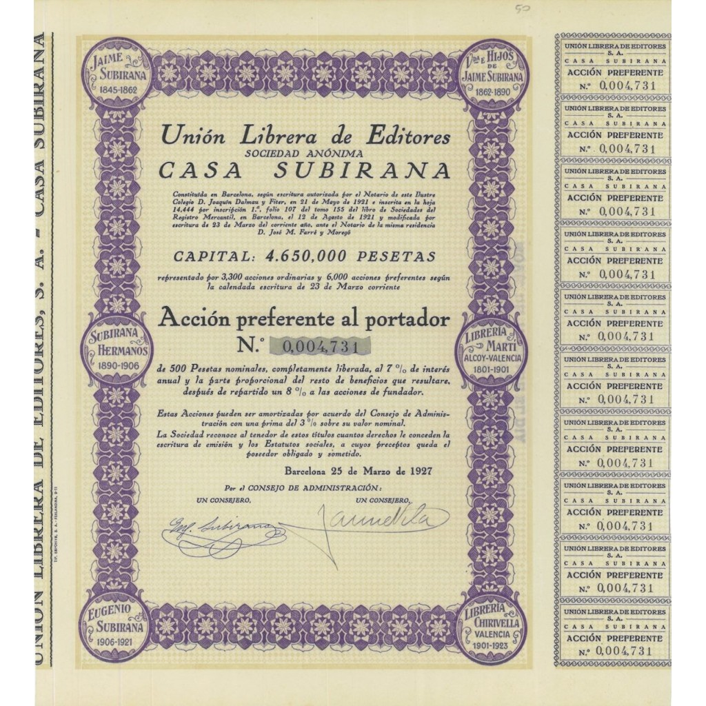 UNION LIBRERA DE EDITORES CASA SUBIRANA - 1 AZIONE - 1927