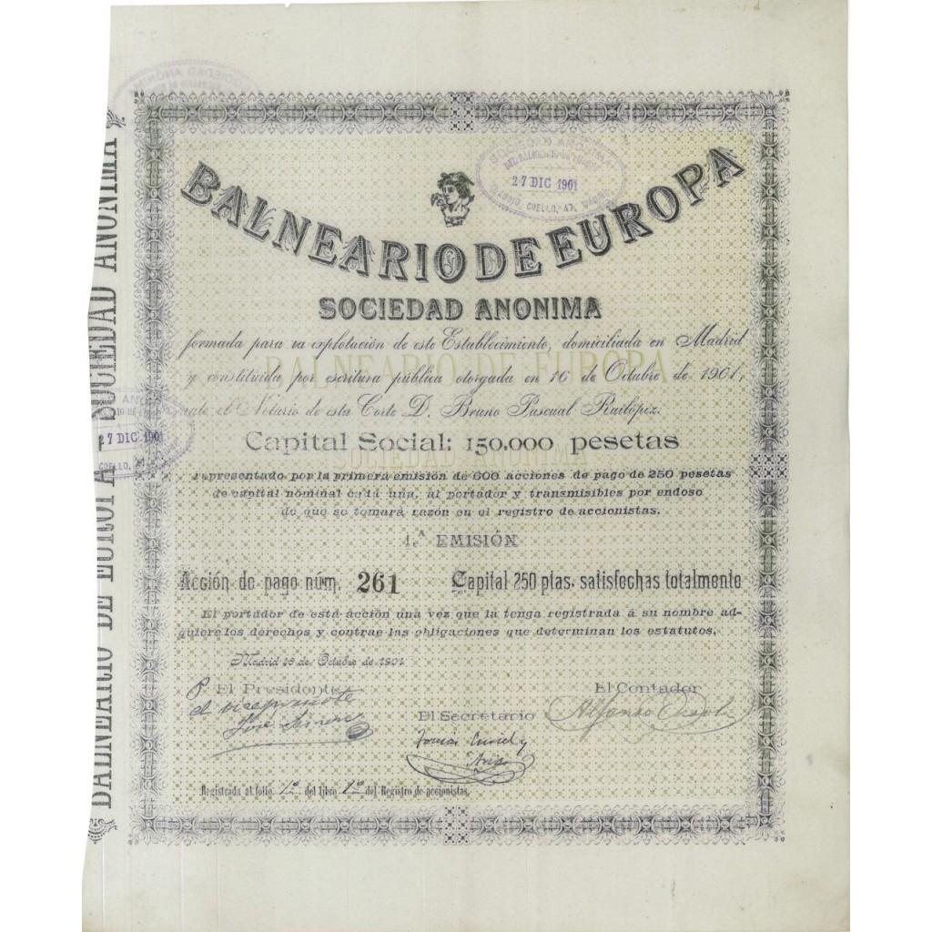 BALNEARIO DE EUROPA - 1 AZIONE - 1901
