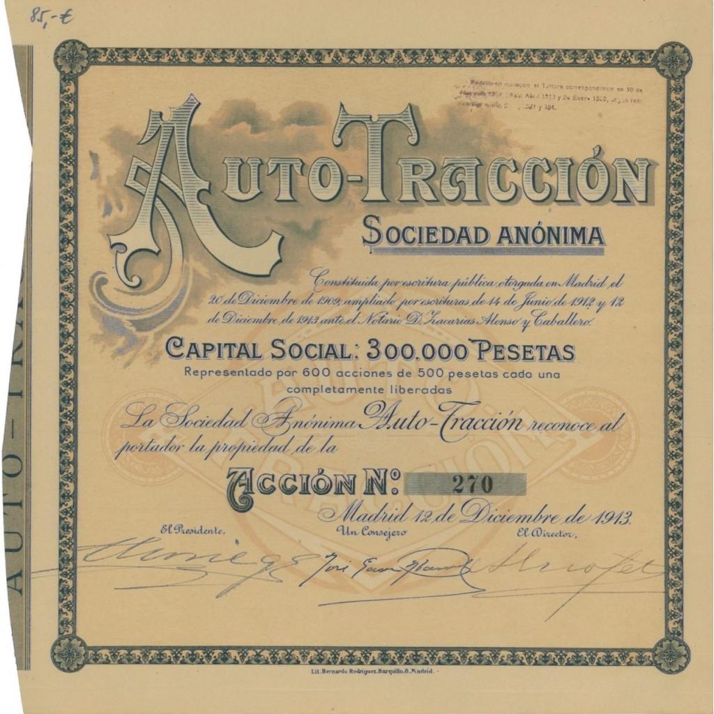 AUTO TRACCION SOC. ANONIMA - 1 AZIONE 1913