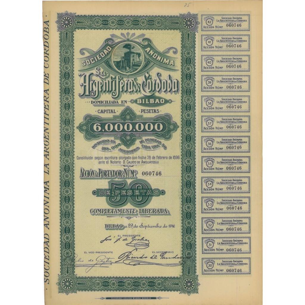 SOC. ANON. LA ARGENTIFERA DE CORDOBA - 1 AZIONE - 1916