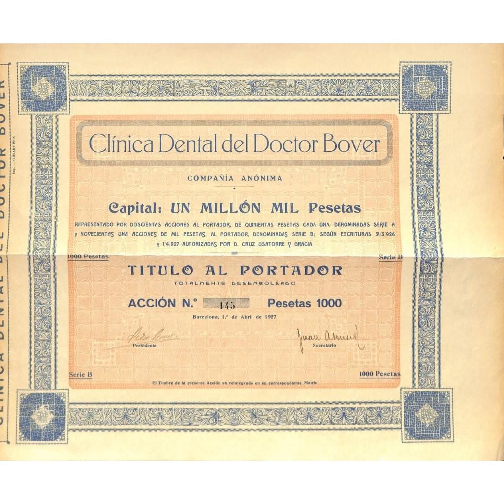 CLINICA DENTAL DEL DOCTOR BOVER - 1 AZIONE 1927
