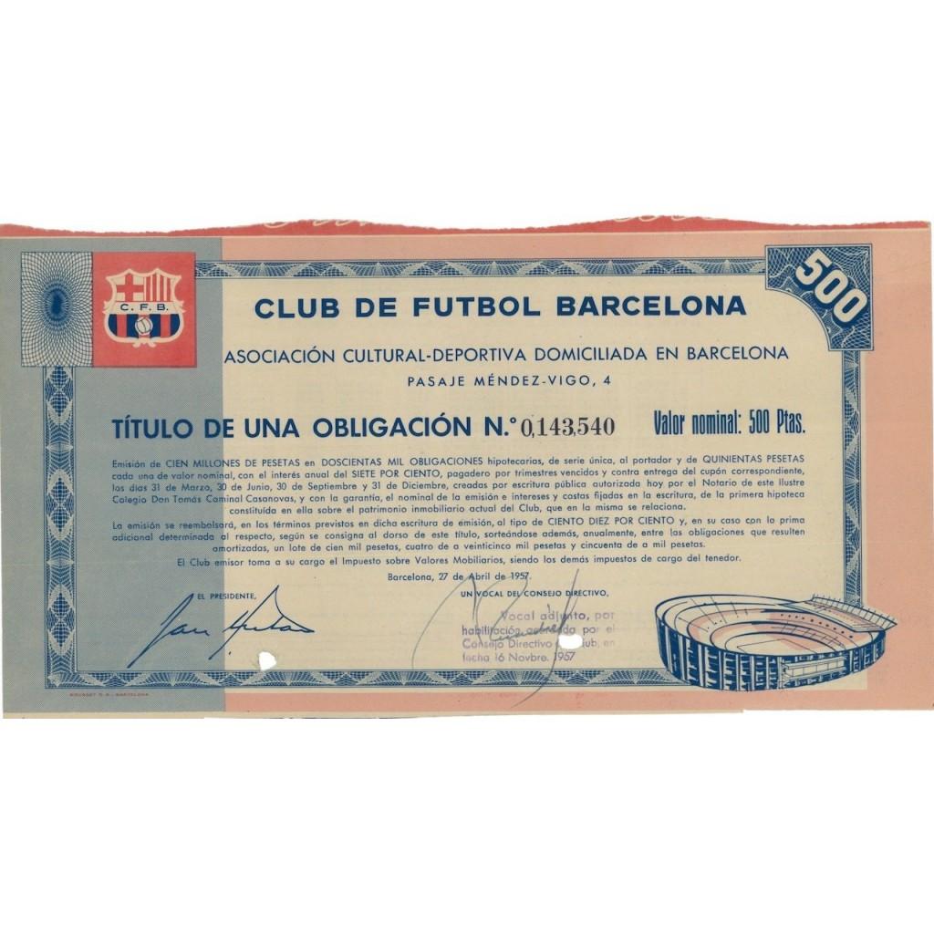 CLUB DE FUTEBOL BARCELONA - 1 OBBLIGAZIONE 1957