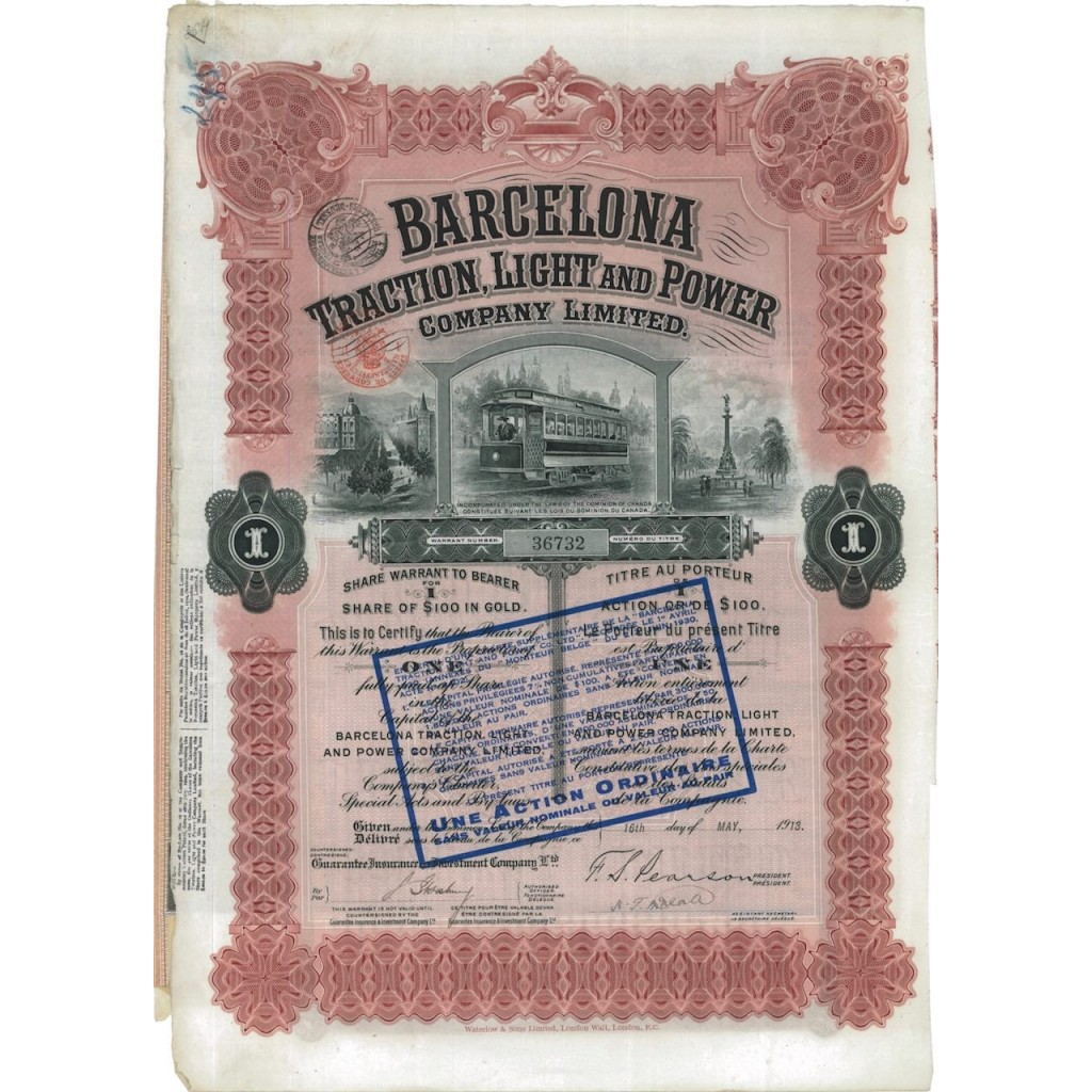 BARCELONA TRACTION, LIGHT AND POWER - 1 AZIONE 1918