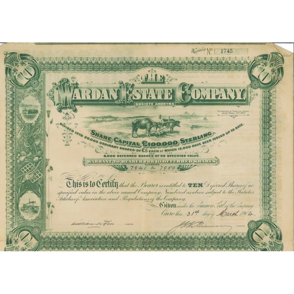 THE WARDAN ESTATE COMPANY - 10 AZIONI - 1904