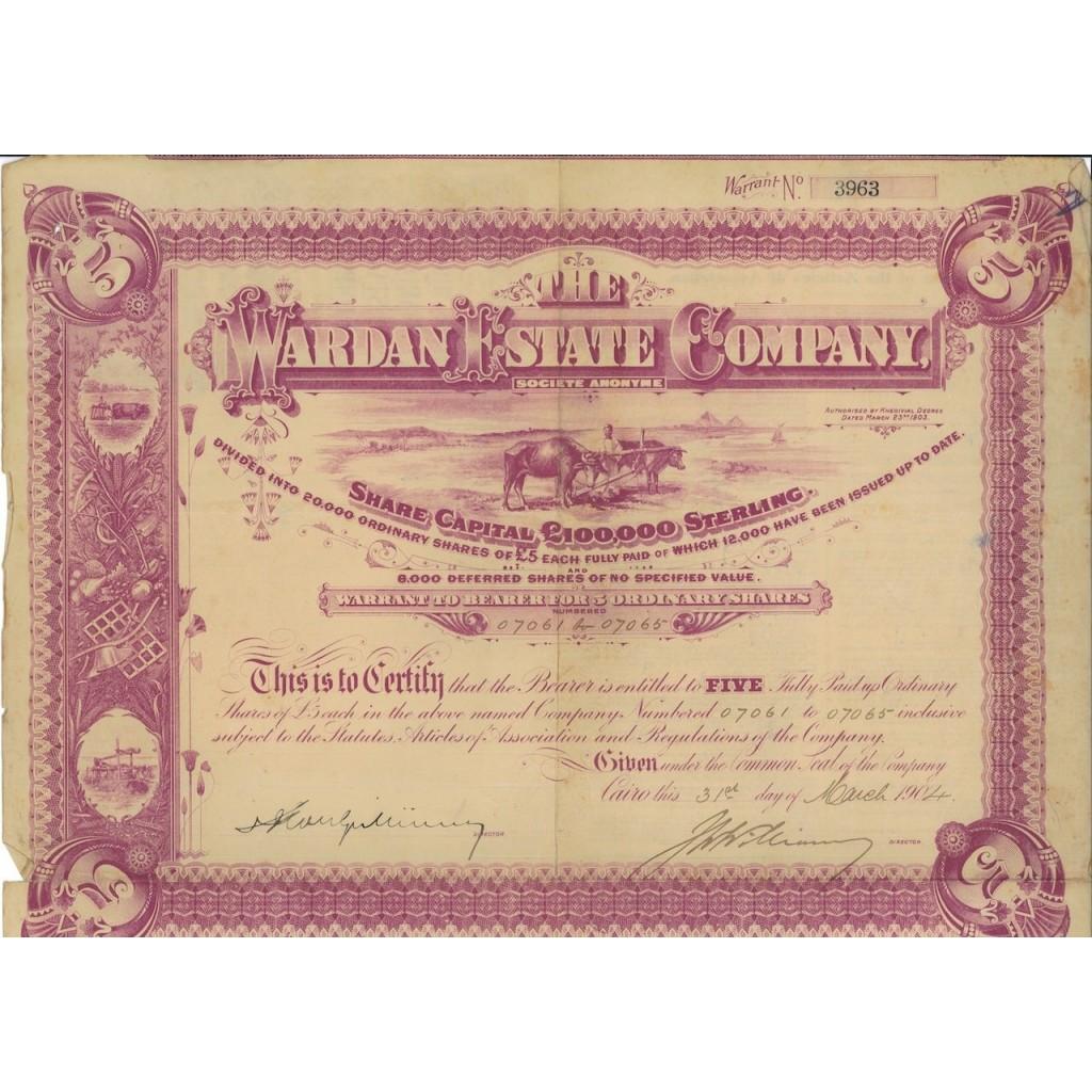 THE WARDAN ESTATE COMPANY - 5 AZIONI - 1904