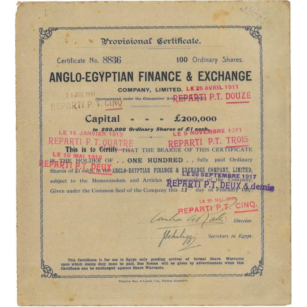 ANGLO-EGYPTIAN FINANCE AND EXCHANGE - 100 AZIONI 1920