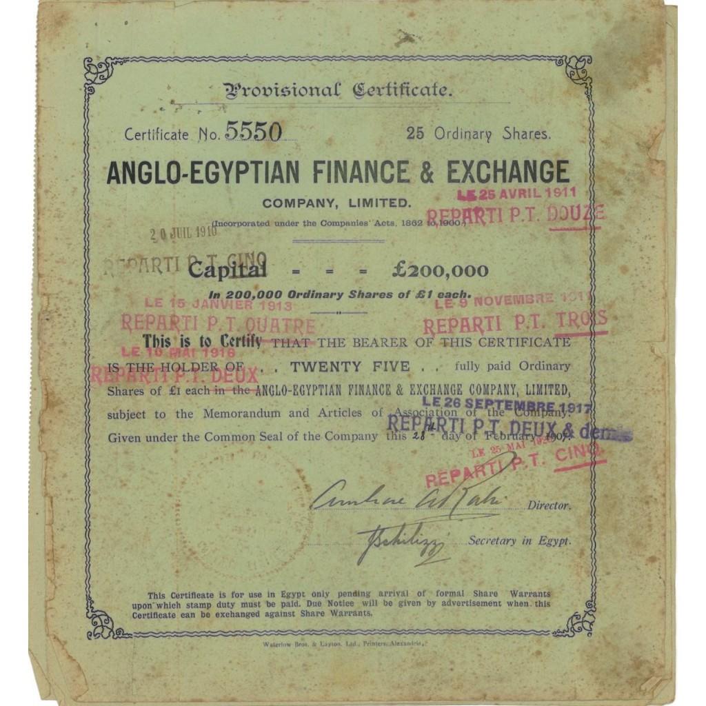 ANGLO-EGYPTIAN FINANCE AND EXCHANGE - 25 AZIONI 1920