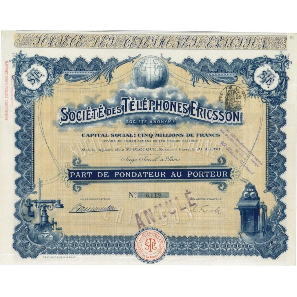 SOC. DES TELEPHONES ERICSSON - PARTE DI FONDAZIONE - 1911