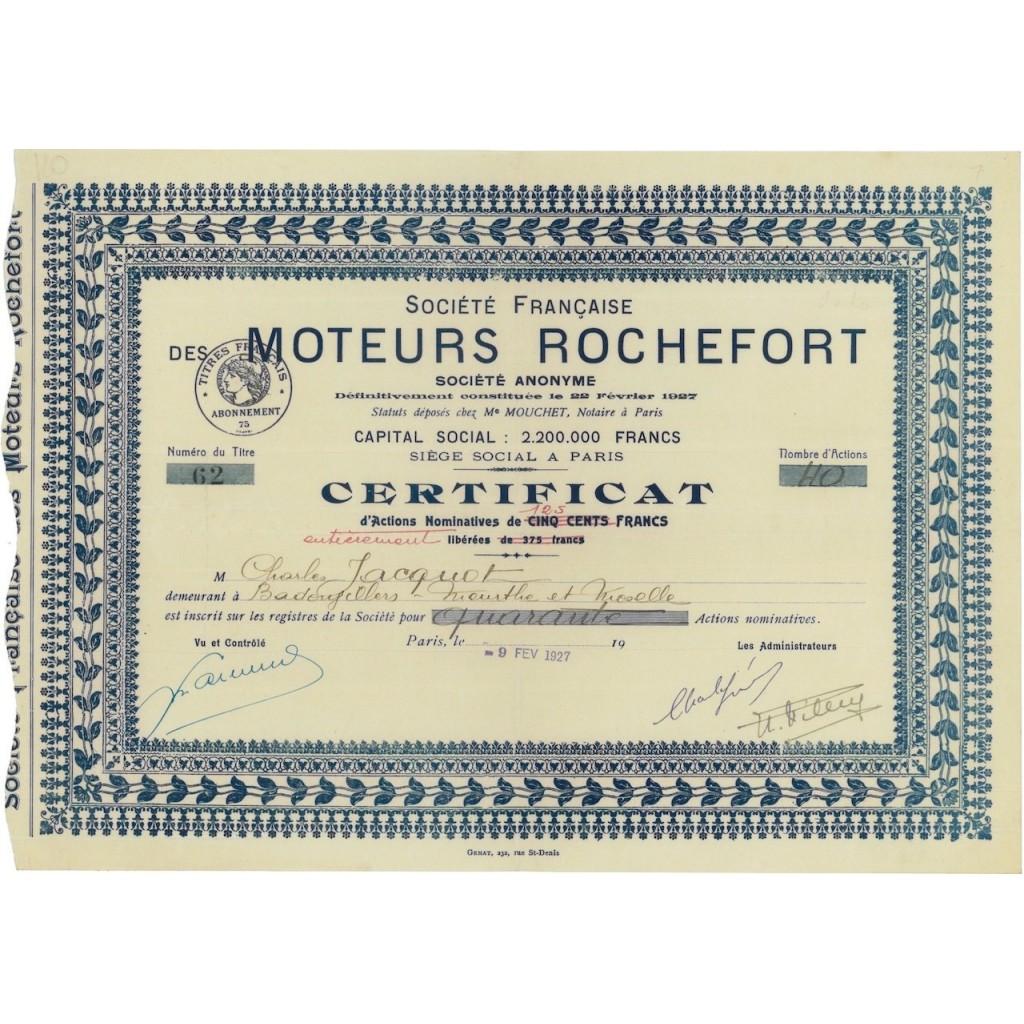 SOC. FRANCAISE DES MOTEURS ROCHEFORT - 40 AZIONI - 1927