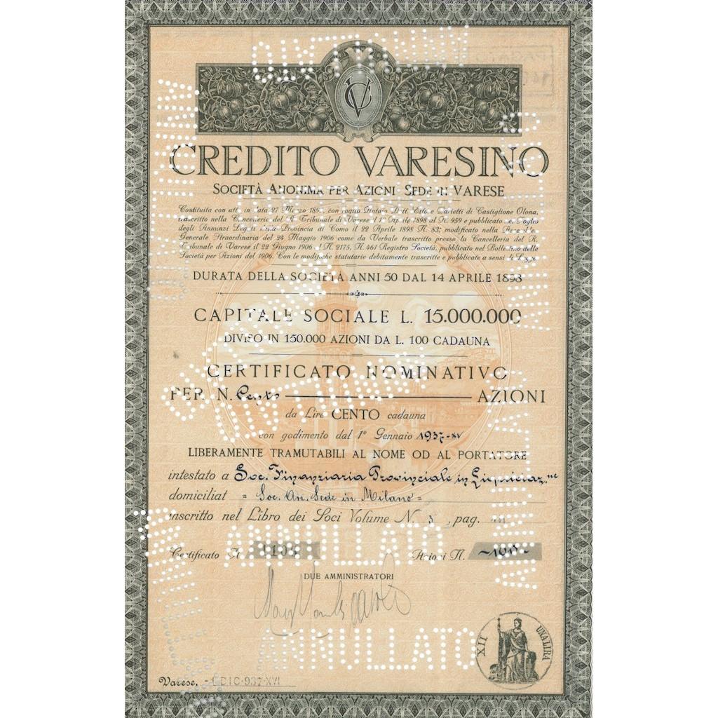 CREDITO VARESINO - 100 AZIONI VARESE 1928